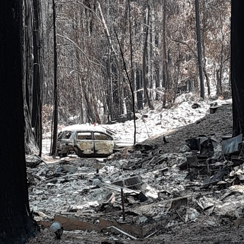 A car destroyed by Camp Fire