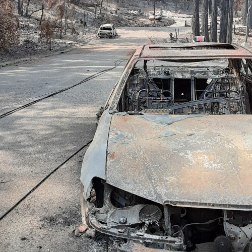 Remains of a burnt car from Camp Fire